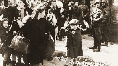 One of the most famous pictures of Jews being rounded up by Nazi Germans during the Holocaust, this from the Warsaw Ghetto Uprising in May 1943. Credit: Wikimedia Commons.