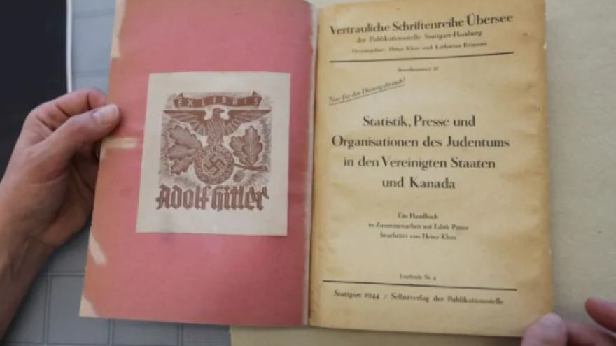 """A 1944 report by German linguist Heinz Kloss, titled """"Statistics, Media and Organizations of Jewry in the United States and Canada"""" and previously owned by Adolf Hitler, acquired in January 2019 by the Library and Archives Canada. Credit: Library and Archives Canada."""