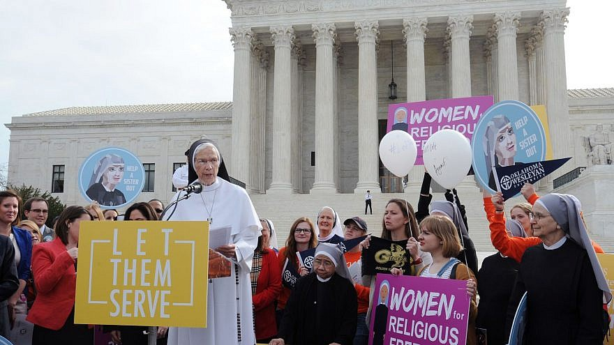 Members of the Catholic group Little Sister of the Poor outside of the U.S. Supreme Court following a case on religious liberty. Credit: Becket Fund for Religious Liberty.