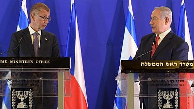 Czech Prime Minister Andrej Babis and Israeli Prime Minister Benjamin Netanyahu give joint remarks in Jerusalem on Feb. 19, 2019. Credit: Amos Ben-Gershom/GPO.