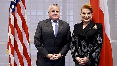 U.S. Deputy Secretary of State John Sullivan is greeted by U.S. Ambassador to Poland Georgette Mosbacher during his visit to Warsaw on Dec. 19, 2018. Credit: U.S. State Department.