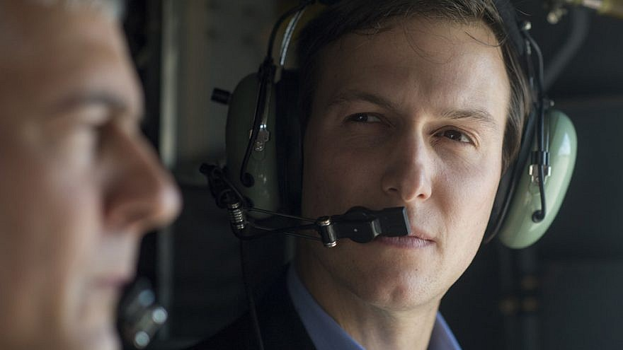 Jared Kushner, senior adviser to U.S. President Donald Trump, speaks to Lt. Gen. Stephen J. Townsend, commander of the Combined Joint Task Force-Operation Inherent Resolve, during a helicopter ride aboard a CH-47 over Baghdad, on April 3, 2017. Credit: Dominique A. Pineiro/U.S. Department of Defense.