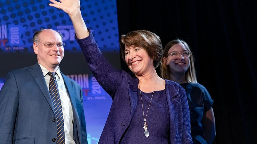 Sen. Amy Klobuchar waves to the crowd at the Minnesota DFL election night party after winning re-election in Nov. 6, 2018, in St. Paul. Credit: Lorie Shaull/Flickr.