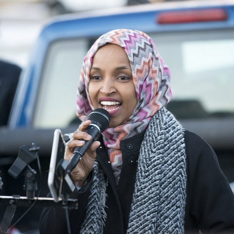 Ilhan Omar speaking at worker's protest against Amazon. Credit: Fibonacci Blue via Flickr.