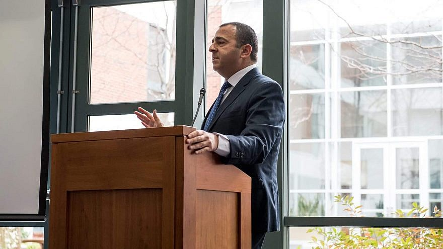 """Former Israel Defense Forces Col. Eli Baron presents at a """"Our Soldiers Speak"""" event at the University of Virginia School of Law in Charlottesville, Va. Credit: Our Soldiers Speak."""
