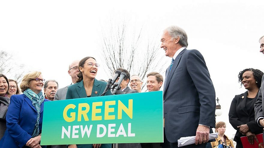 "Rep. Alexandria Ocasio-Cortez (D-N.Y.) and Sen. Ed Markey (D-Mass.) introducing their ""Green New Deal"" climate change plan. Credit: Sen. Ed Markey via Facebook."