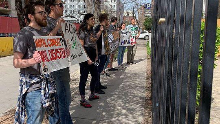 IfNotNow activists picket outside the Rohr Chabad Jewish Center at the University of Texas-Austin on Feb. 23, 2019, where former IDF soldier Leibel Mangel addressed Chabad attendees after services. Credit: IfNotNow/Facebook.