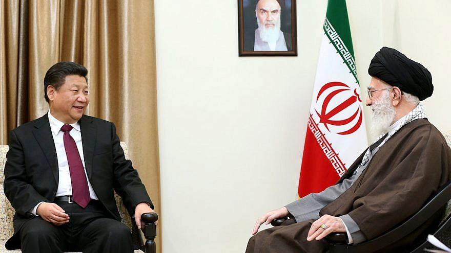 President of China Xi Jinping with Iran's leader, Ayatollah Ali Khamenei, in 2016. Credit: Official Khamenei website via Wikimedia Commons.