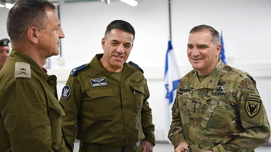 U.S. Army General Curtis Scaparrotti (right), commander for U.S. European Command and NATO Supreme Allied Command Europe, speaks with Israel Deputy Chief of the General Staff Maj. Gen. Aviv Kochavi (left) and Israel Air Force Commander Maj. Gen. Amikam Norkin before a briefing at Hatzor Air Force Base in Israel, March 8, 2018. Credit: U.S. Navy Photo by Chief Mass Communication Specialist Michael McNabb.