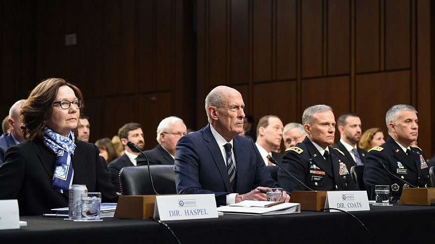 Director of National Intelligence Dan Coats (center) and CIA director Gina Haspel (left) speak to Congress on their assessment of worldwide threats. Credit: Office of the National Intelligence.