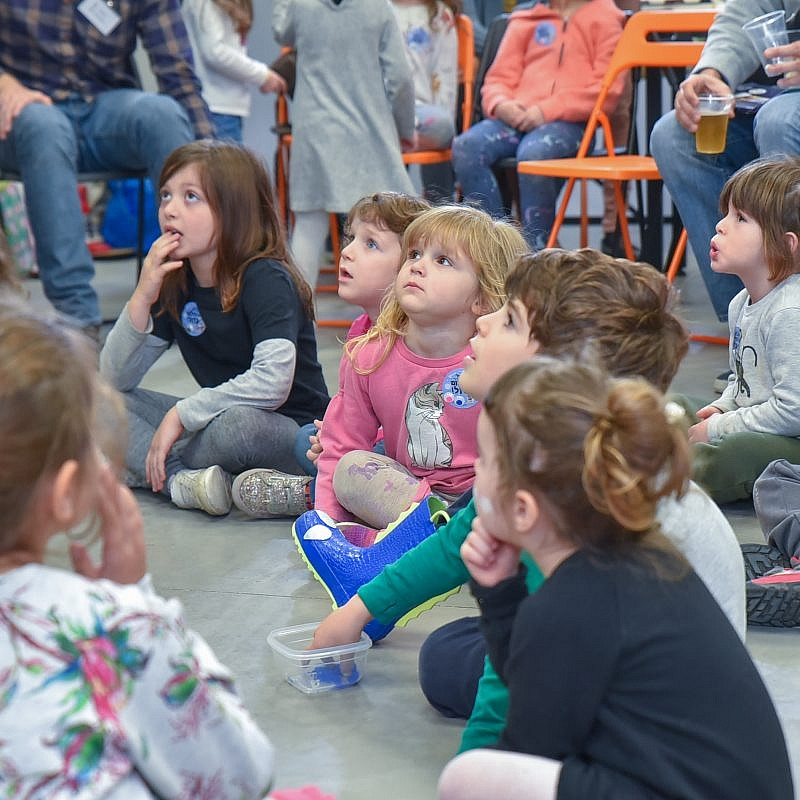 "Israeli children at the book launch for ""The Little Spacecraft,"" a picture book written by StellarNova co-founder and COO Yael Schuster. Credit: Courtesy."