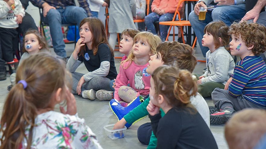 """Israeli children at the book launch for """"The Little Spacecraft,"""" a picture book written by StellarNova co-founder and COO Yael Schuster. Credit: Courtesy."""