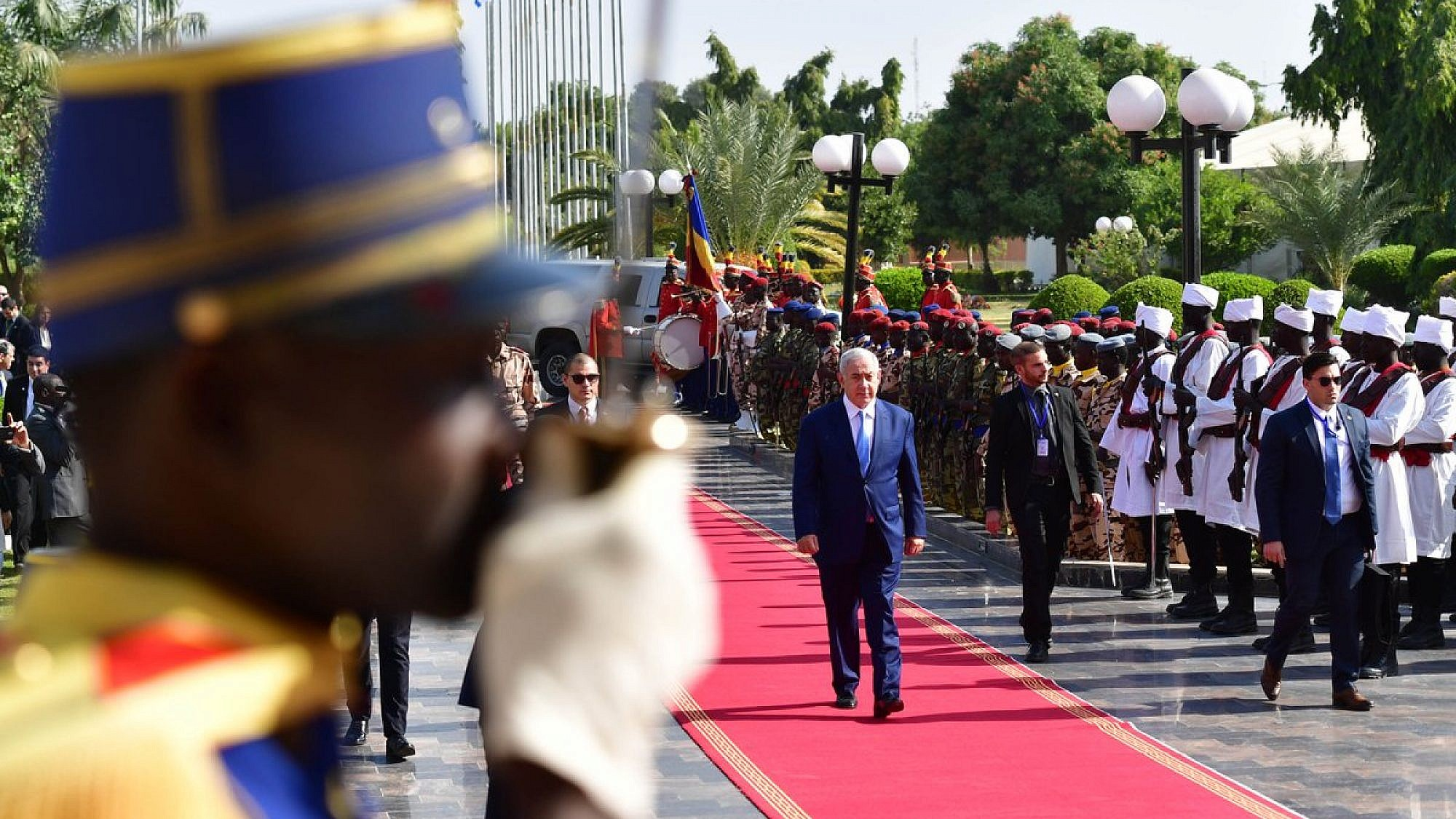 Israeli Prime Minister Benjamin Netanyahu at the Presidential Palace in Ndjamena, Chad, on Jan. 20, 2019. Credit: GPO/Kobi Gideon.