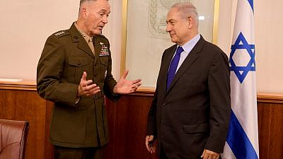 Chairman of the Joint Chiefs of Staff of U.S. Army, General Joseph Dunford, meets with Israeli Prime Minister Benjamin Netanyahu at the PM Office in Jerusalem, May 9, 2017. Credit: Matty Stern/USA Embassy of Tel Aviv.