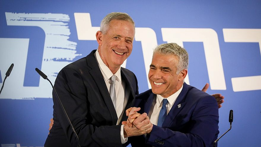 Benny Gantz and Yair Lapid of the new Blue and White Party at a joint a statement in Tel Aviv on Feb. 21, 2019. Credit: Noam Revkin Fenton/Flash90.