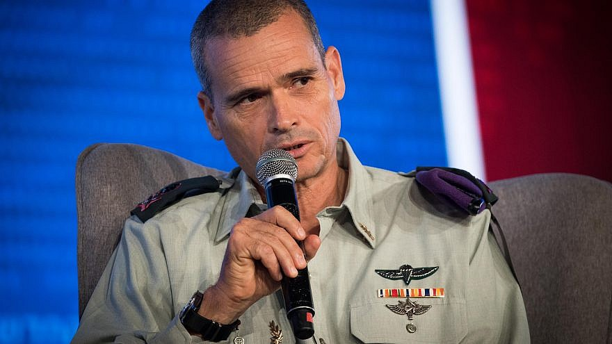 Maj. Gen. Yoel Strik, commander of the Northern Command, at a conference of the Israeli Television News Company in the Jerusalem International Convention Center (ICC) on Sept. 3, 2018. Photo by Yonatan Sindel/Flash90.