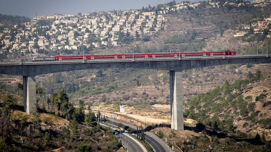 View of the new Tel Aviv-Jerusalem fast train seen over the HaArazim valley just outside of Jerusalem, on Sept. 25, 2018. Photo by Yossi Zamir/Flash90.