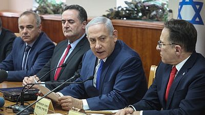 Israeli Prime Minister Benjamin Netanyahu leads the weekly cabinet meeting in Jerusalem on Dec. 2, 2018. Photo by Marc Israel Sellem/POOL.
