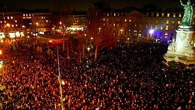 Thousands joined rallies near the Place de la Republique in Paris and across the country to oppose a rising wave of anti-Semitism throughout France, Feb. 19, 2019. Credit: Screenshot.