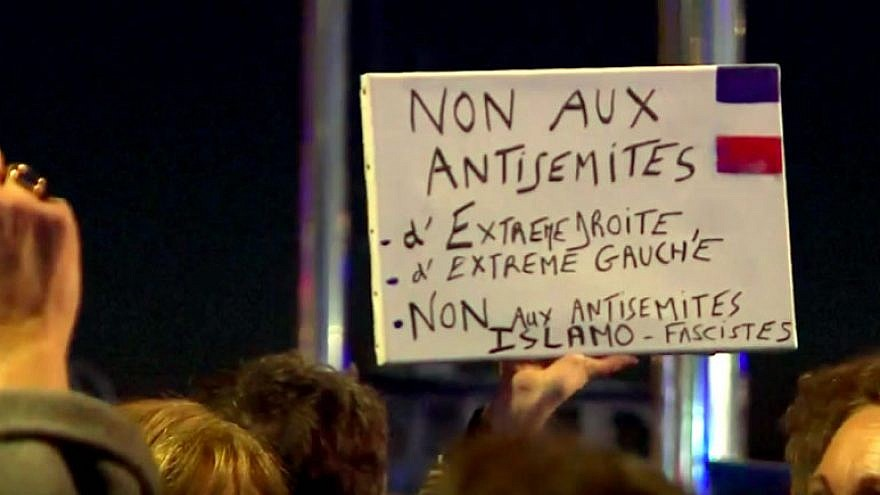 Thousands of people joined rallies in Paris and across the country to oppose a rising wave of anti-Semitism throughout France, Feb. 19, 2019. Credit: Screenshot.