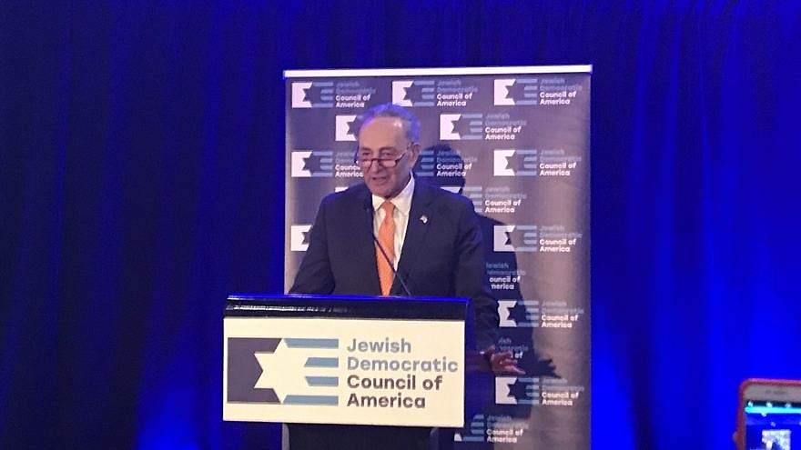 Senate Minority Leader Chuck Schumer (D-N.Y.) addresses a reception in Washington, D.C., hosted by the Jewish Democratic Council of America on Feb. 26, 2019. Credit: Jackson Richman/JNS.