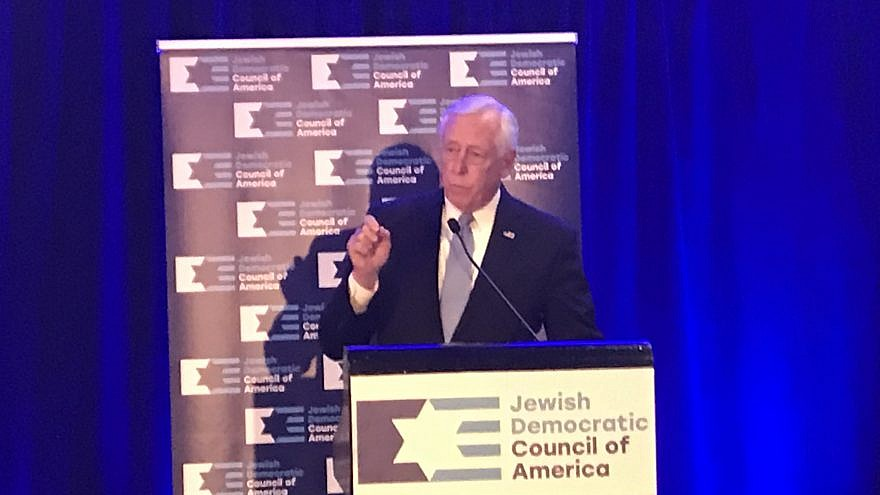 U.S. House Majority Leader Steny Hoyer (D-Md.) addresses a reception in Washington, D.C., for the Jewish Democratic Council of America on Feb. 26, 2019. Credit: Jackson Richman/JNS.