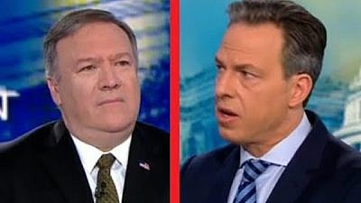 U.S. Secretary of State Mike Pompeo on CNN with Jake Tapper. Credit: Screenshot.