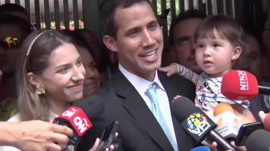Venezuelan opposition leader Juan Guaidó and his family on Jan. 31, 2019. Credit: Voice of America/Wikimedia Commons.
