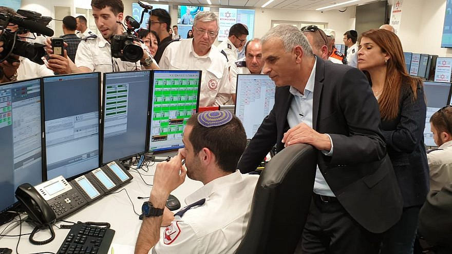 Israel's Finance Minister Moshe Kahlon is shown the cutting-edge dispatch technology at new National Operations Center on Feb. 25, 2019. Credit: Magen David Adom.