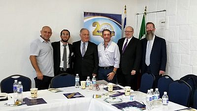 Israel's Honorary Consul General in Cancún Nathan Yisrael; Rabbi Eli Bari, chief rabbi of Cancún; Rabbi Yehiel Wasserman, head of the department of spiritual services, World Zionist Organization; Gabriel Gorisnik , president of the Cancún Jewish Community; Rabbi Kenneth Brander; and Rabbi Eliyahu Birnbaum. Credit: Ohr Torah Stone.