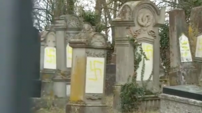 As many as 80 gravestones were vandalized at a French Jewish cemetery in the village of Quatzenheim, discovered on Feb. 19, 2019. Credit: Screenshot.