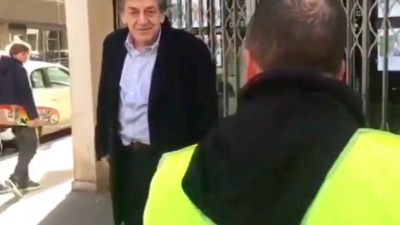 "Protesters from the ""yellow-vests"" movement in France yell anti-Semitic profanity at Jewish philosopher Alain Finkielkraut on Feb. 16, 2019. Credit: Screenshot."