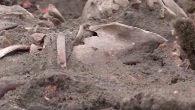 A mass grave of more than 1,000 Jews shot in the head by the Nazis during the Holocaust has been uncovered in Belarus. Credit: Screenshot.