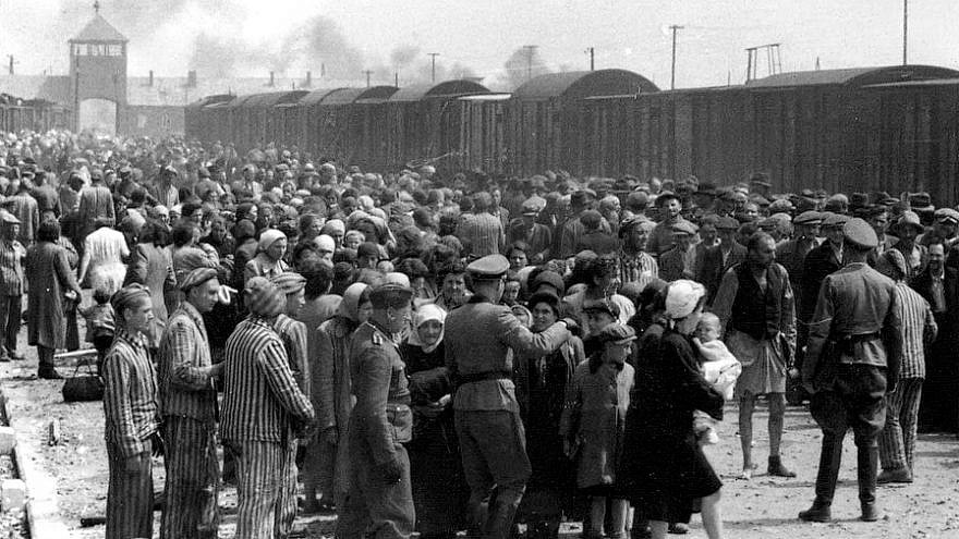 """Selection"" of Hungarian Jews on the ramp at Auschwitz II-Birkenau in German-occupied Poland, May-June 1944, during the final phase of the Holocaust. Jews were either sent to work or to the gas chamber. Yad Vashem Photo Archives, Jerusalem."