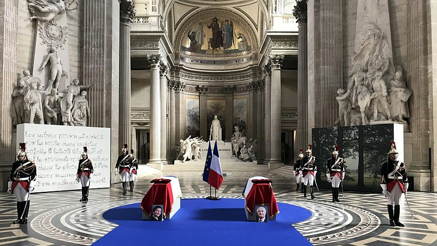 The coffins of Simone and Antoine Veil lying under the Panthéon dome, July 1, 2018. Credit: Emmanuel J. Lévy via Wikimedia Commons.