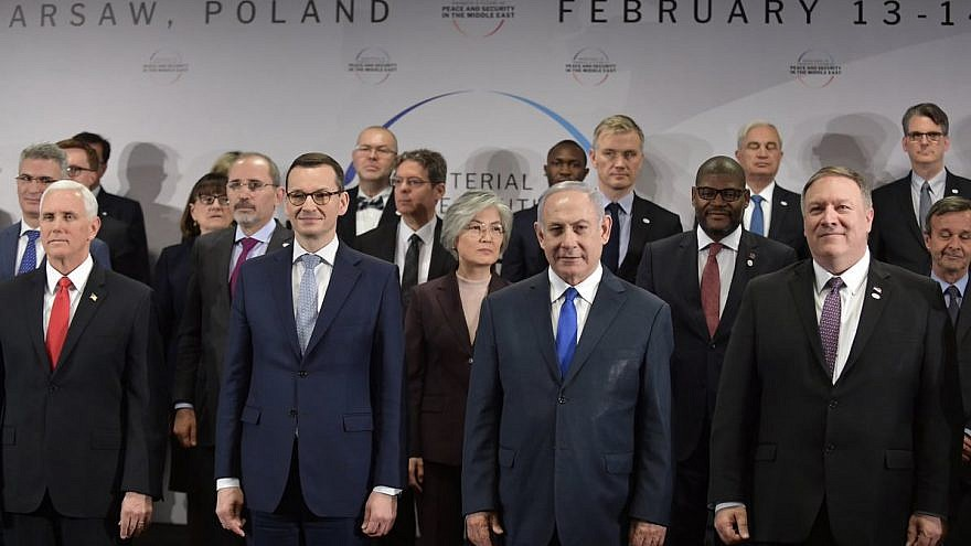 """Leaders at the Warsaw summit, called """"The Ministerial Conference to Promote a Future of Peace and Security in the Middle East."""" Credit: U.S. Secretary of State Mike Pompeo/Twitter."""