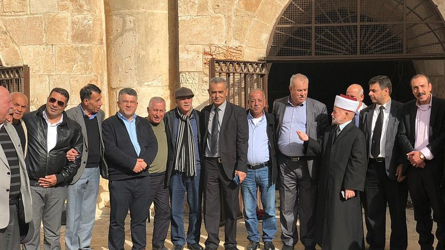 """Arab-Israeli leaders at the """"Gate of Mercy"""" site on the Temple Mount in Jerusalem on Feb, 25, 2019. Credit: Courtesy."""
