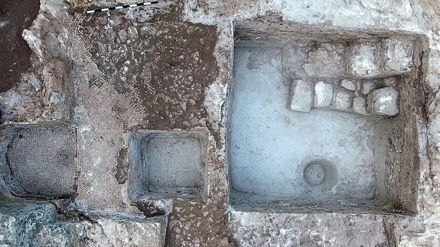 The ancient wine press and inscription uncovered at Tzur Natan. Credit: Yitzhak Marmelstein/Israel Antiquities Authority.