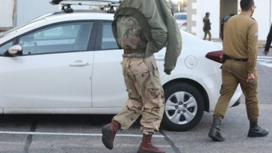 One of the soldiers from the Netzah Yehuda Battalion at the IDF Military Court in Jaffa. Credit: Gideon Markowicz.