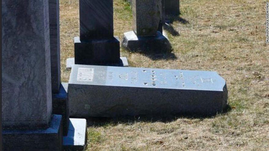 One of 59 gravestones vandalized at a Jewish cemetery in Fall River, Mass. Credit: Fall River Police Department.