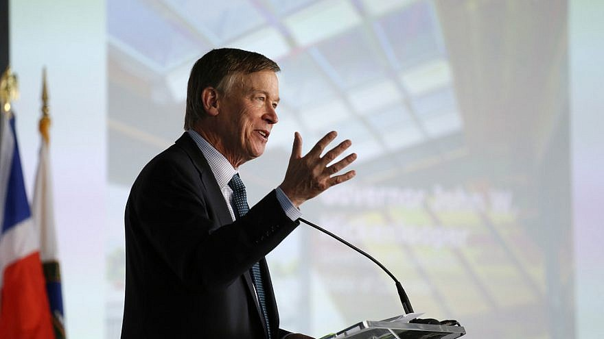 Colorado Gov. John Hickenlooper speaks at the U.S. Department of Energy Solar Decathlon 2017 opening ceremony at the 61st & Peña Station in Denver on Oct. 5, 2017. Credit: Jack Dempsey/U.S. Department of Energy Solar Decathlon.