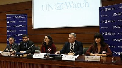 From left: Col. Geoffrey S. Corn, Jon Truzman, Dina Rovner from Shurat Hadin-Israel Law Center, former British forces in Afghanistan commander Col. Richard Kemp and former Israeli Knesset member Einat Wolf. Credit: UN Watch.