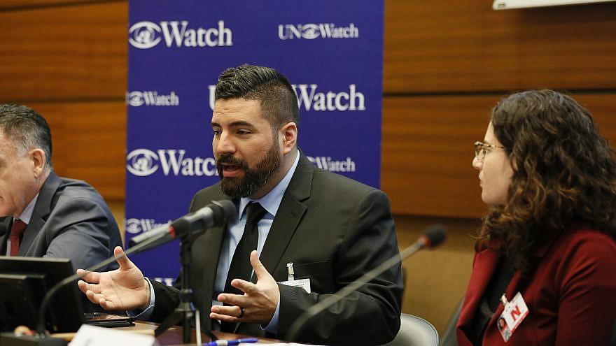 Joe Truzman addresses a session by the watchdog group U.N. Watch in Geneva on the UNHRC's report on Gaza. Credit: U.N. Watch.