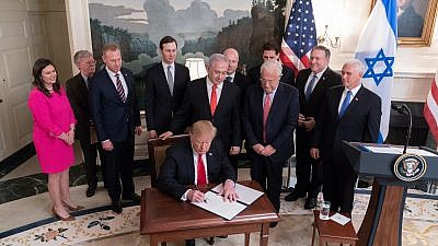 U.S. President Donald J. Trump, joined Israeli Prime Minister Benjamin Netanyahu and administration officials, signs a proclamation formally recognizing Israel's sovereignty over the Golan Heights, on March 25, 2019, at the White House. Credit: Official White House Photo by Shealah Craighead.