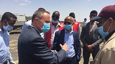 U.S. Ambassador Mike Raynor from the U.S. Embassy in Ethiopia at the crash site of Ethiopian Airlines Flight 302 on March 10, 2019. A team of experts from the U.S. National Transportation Safety Board and the Federal Aviation Administration arrived in Ethiopia to help with the investigatio, as have a forensics team from Israel to search for the remains of two Israelis who died in the crash. Credit: U.S. Embassy in Ethiopia.