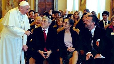 Pope Francis meets with a delegation from the American Jewish Committee in the Vatican on March 8, 2019. Credit: American Jewish Committee CEO David Harris via Twitter.