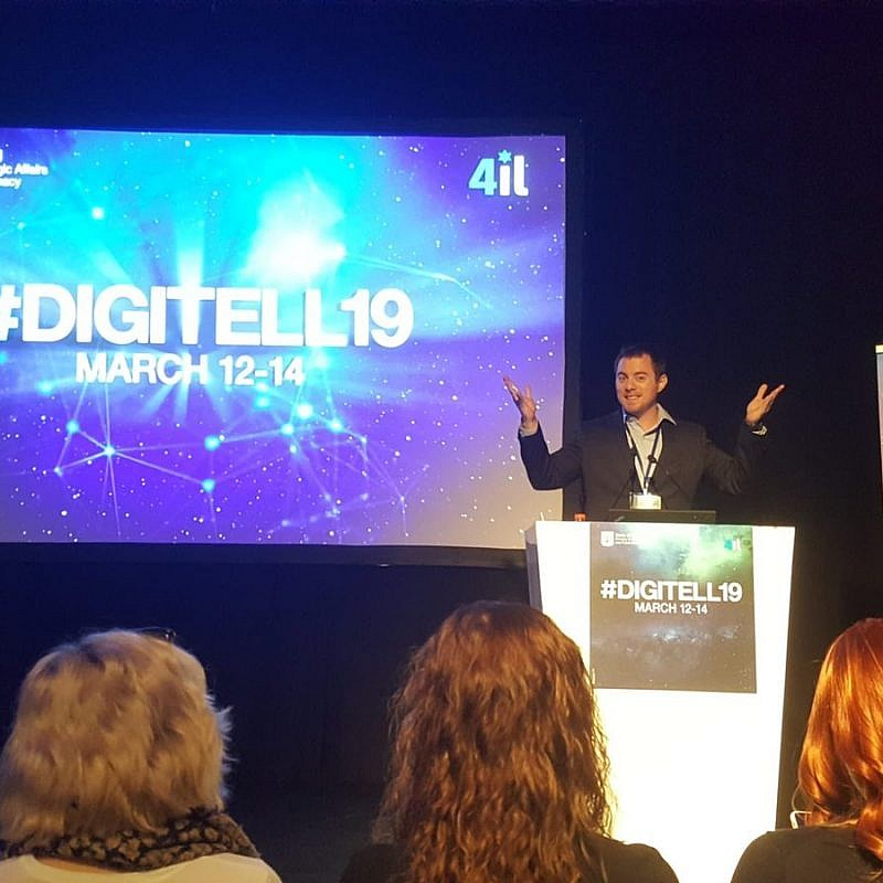 Ben Moore, foreign-media spokesperson for Israel's strategic-affairs ministry, addresses the DigiTell19 Conference in Jerusalem, March 2019. Credit: Twitter.