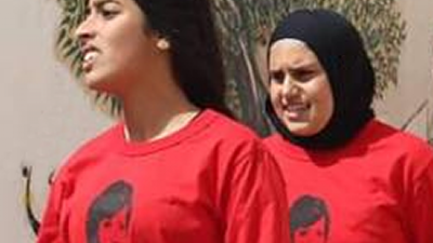 Girls wear shirts with the image of Palestinian terrorist Dalal Mughrabi at a sports event named after her. Credit: PMW.
