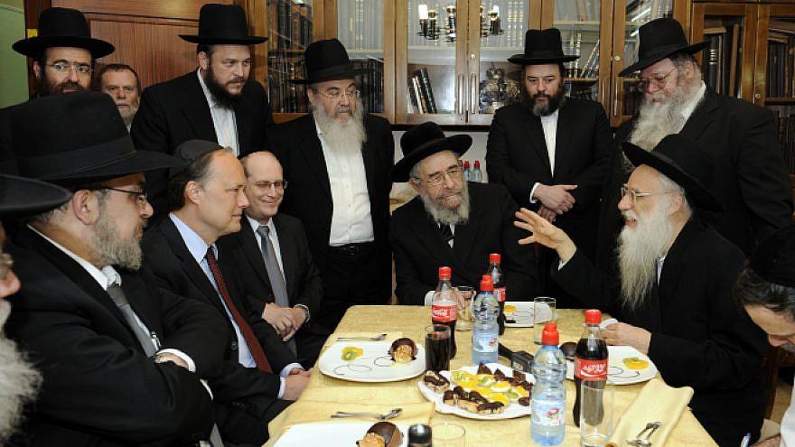 Sitting from left to right: Mayor of Bnei Brak Rabbi Yaakov Asher, U.S. Ambassador James B. Cunningham, Rabbi Aaron D. Davis, Bnei Brak Chief Rabbi Moshe Landau and Rabbi Menachem Mendel Safran, Feb. 23, 2010. Credit: Matty Stern/U.S. Embassy Tel Aviv/Flash90.