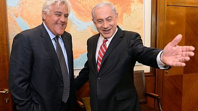 Israel's Prime Minister Benjamin Netanyahu with American comedian Jay Leno at the Prime Minister's Office in Jerusalem on May 21, 2014. Photo by Kobi Gideon/ GPO/Flash90.